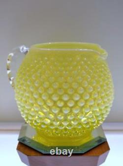 Fenton Juice Set 5 Pc. Pre Logo Vaseline Opalescent Hobnail Freeusaship