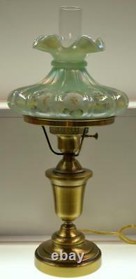 Fenton Lamp Willow Green Opalescent Angel's Blush Melon Rib 21 Étudiant 5401gc