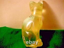 Fenton Lily Trail Opalescent Topaz Glass Cat Artiste Peint À La Main Signé Aucune Faille