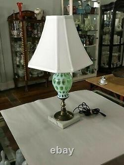 Fenton Lime Green Opalescent Coin Dot Lamp Working Condition 1950s Fenton Lime Green Opalescent Coin Dot Lamp Working Condition 1950s Fenton Lime Green Opalescent Coin Dot Lamp Working Condition 1950s Fenton