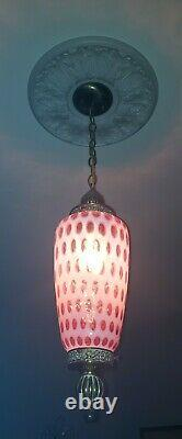 Fenton MID Century Cranberry Opalescent Coindot Hanging Swag Lamp