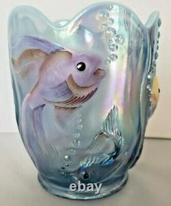 Fenton Marqué Misty Blue Glass Vase Atlantis Poisson Opalescent Iridescent Verlys
