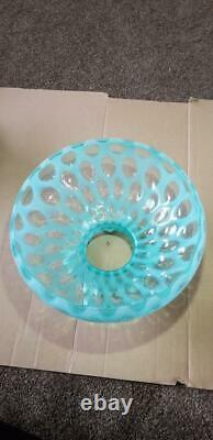 Fenton Rare 10 Lampe En Verre Ombre Blue Coin Dot Opalescent