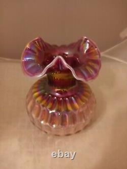 Fenton Raspberry Prunnaval Opalescent Glass Thumbprint Vase 7.5h Rare
