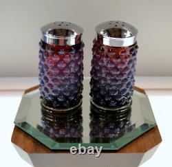 Fenton Salt / Pepper Set Plum Opalescent Hobnail 3 Pouces Ooak Freeusashp