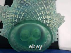 Fenton Sea Blue Hobnail Opalescent Art Glass Flower Epergne Urn 12w 11h Vtg