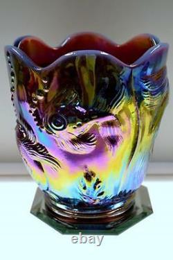 Fenton Vase Atlantis Vase Plum Opalescent Carnaval