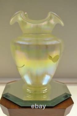 Fenton Vase Y Topaz Sunflowers 1582tc #d 167/1950 Liberté Nib