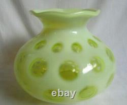 Fenton Vintage Verre 5-1/2 Coin Dot Topaz Vase Opalescent # 1440