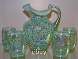 Fenton Water Set Daisy & Fern Springtime Green Opalescent 5pc Rare! Liberté