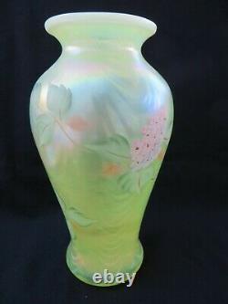 Fenton Yellow Topaz Vaseline Opalescent Drapery Vase HP Hydrangeas Butterfly 9,5
