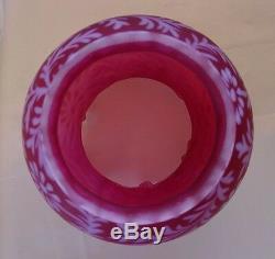 Fentonglasscranberry Satin Opalescentdaisy & Fern3 Waylampvintage1950s