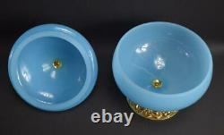 Français Antique Blue Opaline Lidded Opaline Candy Box Gilded Brass Stand