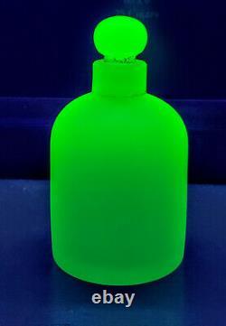 Français Antique Opaline Vaseline Portieux Vallerysthal Lotion Glass Bottle 1940's