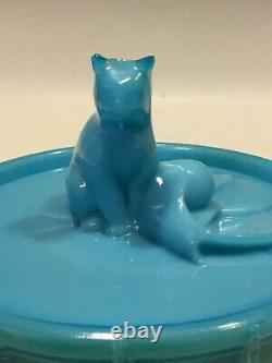 Français Blue Opaline Milk Glass Cat On Drum Box Portieux Vallerysthal Pv France