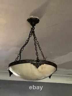Français Lumières De Plafond En Verre Art Déco Opaline