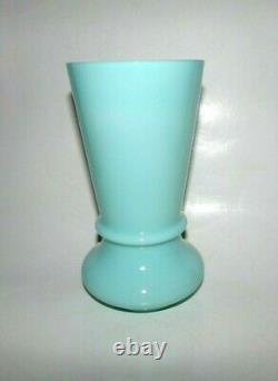 Français Portieux Vallerysthal Rare, Antique Large 8 High Aqua Green Blue Vase