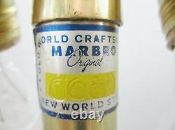 Grande Lampe De Table En Verre Opalescent Bleu Murano Et Laiton Par Marbro Vers Les Années 1960