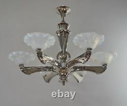J. Gauthier Ezan Ejg Grand 1930 1935 Français Opalescent Art Déco Lustre