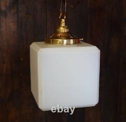 Kenny Medium Sized Opaline Art Déco Cube Pendentif Light Rewired & Pat Testé