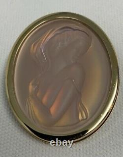Lalique Opalescent Clemence Cameo Broche D'or Plaquée Avec Boîte