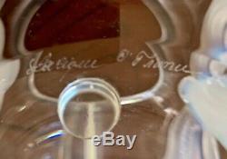 Lalique Orchidee (orchid) Vase En Cristal Clair Avec Des Orchidées Opalescentes Attachés