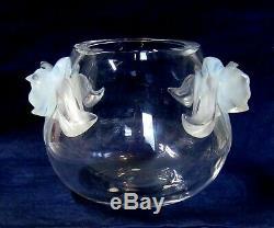 Lalique Vase Orchidee Clair Avec Opalescentes Orchidées