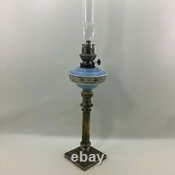 Lampe À Huile Antique Kosmos Brenner Art Nouveau / Métal Et Opaline Blue Glass