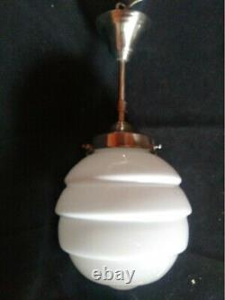 Lampe À Suspension Art Déco Bauhaus 1920/30. Verre Opaliné Blanc
