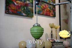 Lampe De Suspension Art Déco 1920/30. Verre Opaline Vert! Langue Source