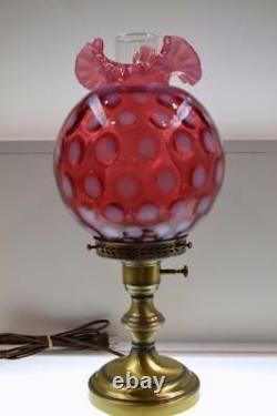 Lampe Fenton Cranberry Opalescent Coin Spot 17 1/2 Z0113 Free48stship