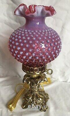 Lampe Vintage Fenton Art Cranberry Opalescent Hobnail