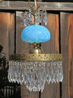 Lampe Vintage Murano Vénitien Turquoise Opaline Art En Verre De Laiton Tole
