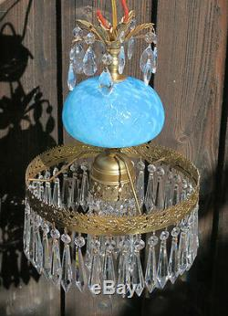 Lampe Vintage Murano Vénitien Turquoise Opaline Des Prismes En Laiton De Verre Art
