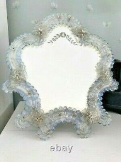 Large 37cm Vintage Vénitien Murano Opalescent Verre Habillage Table Miroir De Vanité