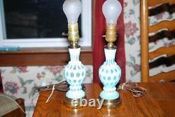 Lot De 2 Rare Fenton Opalescent Coin Dot Boudoir Lampes
