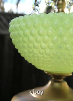 Lustre De Lampe De Cru Murano Vénitien Jaune Opaline Art Bubble Glass Laiton