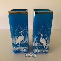Magnifique Paire De Baccarat Bleu Azur Opaline Et Émail Vases Grue