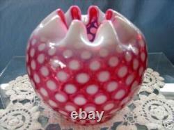 Mint+perfvintage1950sfenton Glascranberry Opalescentpolka Dot5rose Bowl