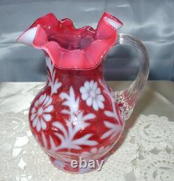 Mint+perfvintage60sfenton Glascranberry Opalescentdaisy&fernpitcher/jug