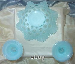 Mnt+prfvintage40ssrcfenton Glassblue Opalescentcoin Dotlg3pcconsole Set