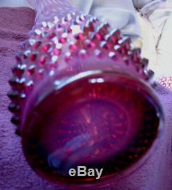 Mntperfvintage50sfenton Glassplum / Cranberryopalescenthobnailhuge21vase