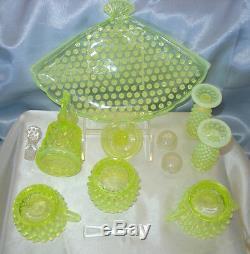 Mntvintage40sfenton Glasstopzvaselineopalescenthobnailcondiment Set + Plateau