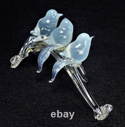 Murano Glass Opaline Birds Sur Une Branche Énorme Sculpture Signée Albarelli