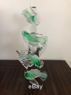 Murano Opalescentes Oiseaux De Verre Sur Une Sculpture De Branche Signée