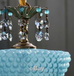 Murano Vénitien Bleu Opaline Art Bubble Verre En Laiton De Lampe Vintage