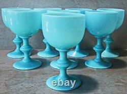 Newithold 1930's Set8 Blue Opaline Portieux Vallerysthal 4.5 Verres À Vin Nrmint