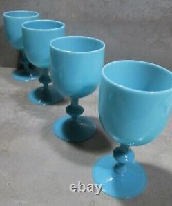 Newithold 1930's Set 6 Blue Opaline Portieux Vallerysthal 6.5 Goblets #1/ 2 Nr M