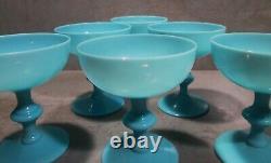 Newithold 1930's Set 6 Blue Opaline Portieux Vallerysthal Sherbet Glasses #2/2