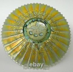Northwood Carnival Art Glass Three Fruits Aqua Opalescent Stippled Plate